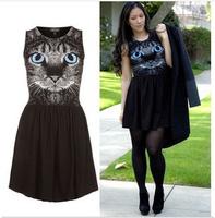 Hot Selling 2014 Elegant Classical Vintage  Pinup cat Girls Mini Print Dresses Free Shipping