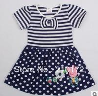 2014 summer new cartoon girls stripe embroidery dress wave point dress