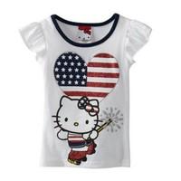 2014 Baby girls US flag heart cat print sleeveless tops summer T-shirt