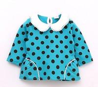 2014 Baby kids polk dot lace collar long sleeve tops