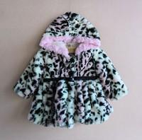Baby girls winter leopard Velour hooded long sleeve warmly coat