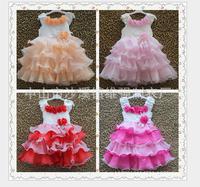 girls summer flowers princess dress, children  kids lovely clothing girl pearls stacked dresses