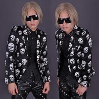 Spring men's clothing blazer costume shiny satin mercerizing skull suit male
