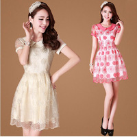 ball gown spring casual dress female short sleeve floral big plus size fat women cute peter-pan collar  A276