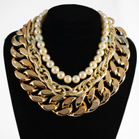 Fashion Gold Triple Big Chains White Beads Cluster Choker Pearl Necklace Women Bold Necklace Jewelry Free Drop Shipping