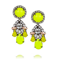 Shourouk earrings Fluorescent yellow fashion flower crystal big earrings vintage women drop earrings jewelry NEW 2014