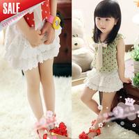 New arrival 2014 girl summer cotton short white fashion short for children girls lace skirt 5pcs/lot A040