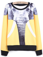 2014 Spring/Autumn New Top Designer Fashion Women Casual Yellow Long Sleeve Elephants Print Sweatshirt