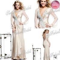 2014 Tarik Ediz Dress Sexy V-neck With Beading Long Sleeves Natural Waist A line Floor length Chiffon Evening Dresses Long
