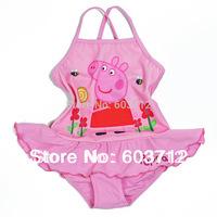 free shipping cartoon Peppa Pig girls swimsuits girl's bikini swimwear girl lovely swimsuits one piece