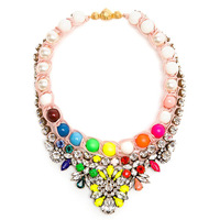 new shourouk Luxury crystal pearl necklace 2014 fashion design multicolors braid statement necklaces pendants jewelry