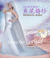 2014 slim waist boob tube top sweetheart the bride wedding dress bandage short trailing free shipping M-010