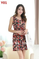 2014 spring and summer new Hot Slim floral dress , a variety of colors.