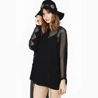 free shipping Square grid jagg patchwork chiffon gauze patchwork long-sleeve o-neck loose female t-shirt haoduoyi