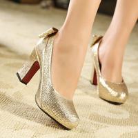 2013 gold wedding shoes star rhinestone platform high heels bow thick heel shoes bridal shoes round toe single shoes women's