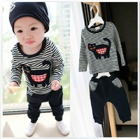 2014 sets wholesale high quality stripe cartoon cotton male baby suit/T-shirt + haroun pants