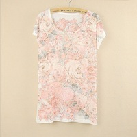 Hot sale New 2014 Spring plus size loose batwing sleeve women's  Lovely Pink flowers printing Casual t shirt match Top Tee