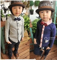 014 cotton boy lapel bowknot is long sleeve shirt sell like hot cakes free shipping
