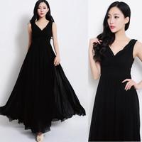 Free Shipping New Arrival 2014 Sleeveless Floor-Length Deep V-Neck Slim Fit Brief Women's Dress Black Size S- L MYB6018