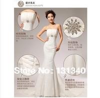 2014 slim waist boob tube top sweetheart the bride wedding dressmermaid bandage short trailing free shipping M-011