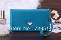 Fashion mirror Wristlet women wallert flip card slot leather phone bag case cover For Samsung galaxy Note 3 N9000 free shipping