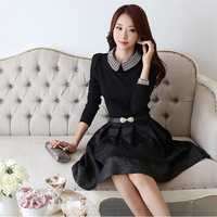 2014 spring women's one-piece dress slim medium-long plus size peter pan collar long-sleeve dress