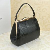 2014 women's handbag popular PU leather handbag crocodile pattern embossed dinner party bag clip