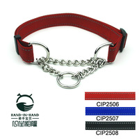 High quality dog 2.5 plain reflective wire nylon chain control collar