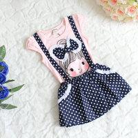 new arrival 2014 little girl casual dress,gilrls big bow dot pattern braces dress,4pcs/lot,free shipping