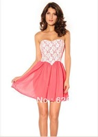 2014 selling lace strapless chiffon with fashionable dress
