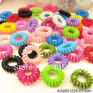 Free Shipping Fashion Mixed Telephone Wire Style Hair Elastic Band Ponytail Holders Hair Ring Accessories For Children Baby(China (Mainland))