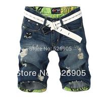 HOT-SALE!2014 Fashion Denim Shorts Jeans Men Famous Brand 100% Cotton Slim Straight Ripped Jeans for Men Shorts 1141