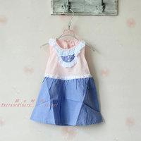2014 new fashion child dots dress, sleeveless small fresh princess dress,4pcs/lot ,free shipping