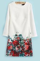 OASAP 2014  Mujeres Vestido,vestido doce,3/4 Sleeve Floral Dress,free shipping