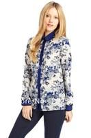 Free Shipping  Women Chiffon Blouse Blue and White T-Shirt Soft Feeling Fashion Style