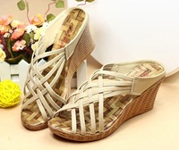 Free shipping Fashion cross rustic knitted platform wedges sandals slippers women's shoes