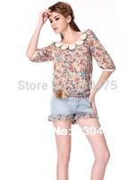 New 2014 Cotton Formal Fashion Women T Shirt Brand Regular Sleeve Pullover Fifth Sleeve Chiffon Shirts Adventure Time Shirt