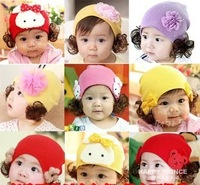 2014 winter baby caps new Wig hat double bear with flower child winter cap girl hotsale fashion style
