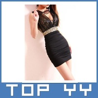 Style nightclub sexy low-cut gauze perspective dew backpack hip tight dress was thin
