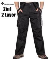 winter brand 2in1 ski pants for men's sportwear snowboard double layer pants Outdoor Waterproof skiing trousers