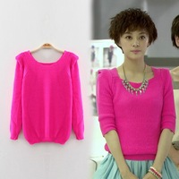 2014 spring rose sweater solid color sweater