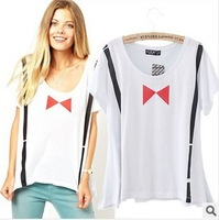 Fashion white women t-shirt 2014 summer straps print women top tees free shipping xc-1287