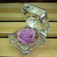 Fresh flowers birthday day gift flower rose ring box purple rose