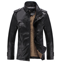 Men New Fashion Leather Jacket High Quality  Winter Men's Faux Fur  Coats
