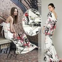 Elegant Plum Blossom Digital Printing Elastic Silk Satin Fabric 1Meter 19mommie