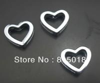 free shipping 100pcs/lot 8mm heart slide charm diy jewelry findings