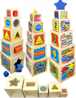 Montessori Wooden toy wisdom shape colorful box tower Pile high block game 1set