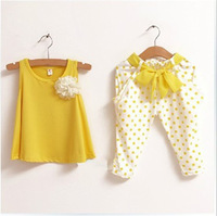 1PCS Retail 2-7Y Kids Summer Sets 2014 Yellow/Grey/Red 100% Cotton Polka Dot Girls' Summer Suits Sleeveless T-shirt + Pants