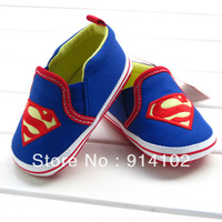 New Arrival 2014 Superman Baby boys shoes Soft Sole  new born Learning Walk Shoes cartoon Anti-slip toddler shoes 11 12 13CM