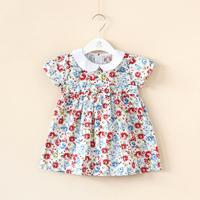 2014 Children's clothing summer cotton 100% rustic peter pan collar short-sleeve dress for girl
